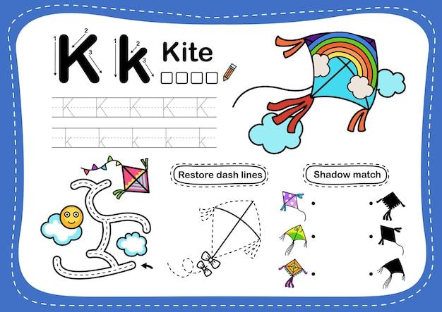 Alphabet letter k-kite-übung mit cartoon-vokabular Premium Vektoren