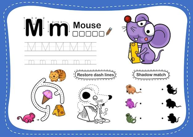 Alphabet letter mausübung mit cartoon-vokabular Premium Vektoren