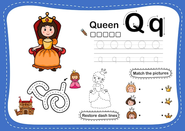 Alphabet letter q-queen übung mit cartoon-vokabular Premium Vektoren