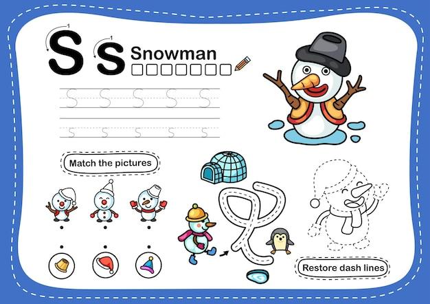 Alphabet letter s-schneemann übung mit cartoon vokabular Premium Vektoren