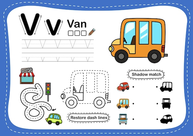 Alphabet letter v-van übung mit cartoon-vokabular Premium Vektoren