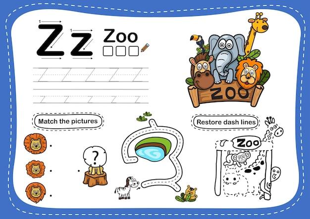 Alphabet letter zoo übung mit cartoon vokabular Premium Vektoren