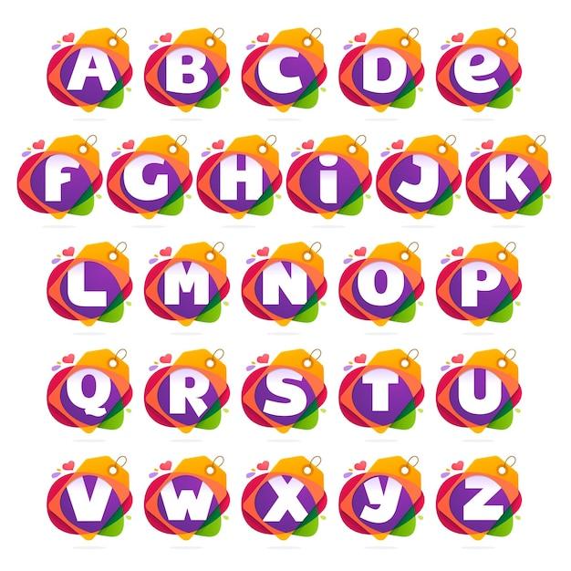 Alphabet logo mit sale tag. Premium Vektoren