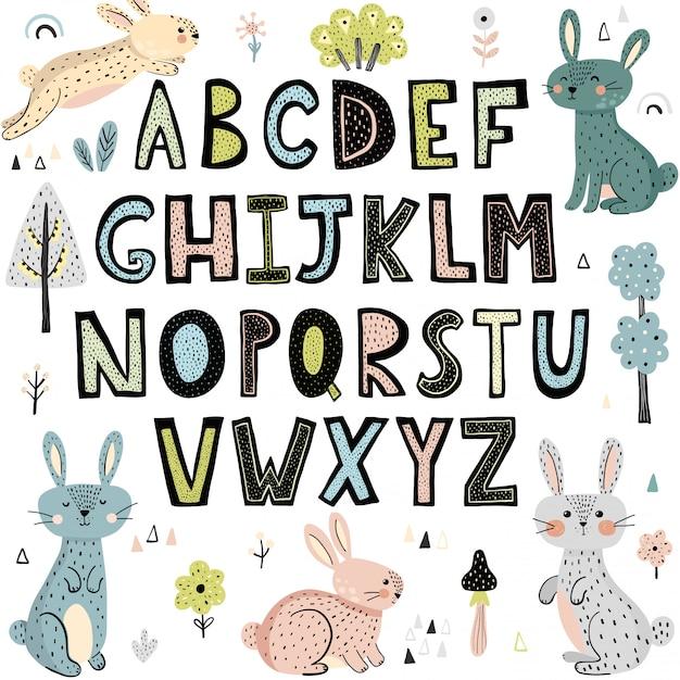 Alphabet mit niedlichen kaninchen Premium Vektoren