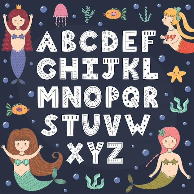 Alphabet mit niedlichen meerjungfrauen. Premium Vektoren