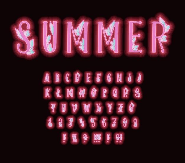 Alphabet mit rosa neoneffekt und dekorativen blättern. schriftarttypographie mit buchstaben und zahlen Kostenlosen Vektoren