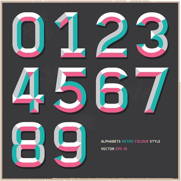 Alphabet nummeriert weinlesefarbart Premium Vektoren