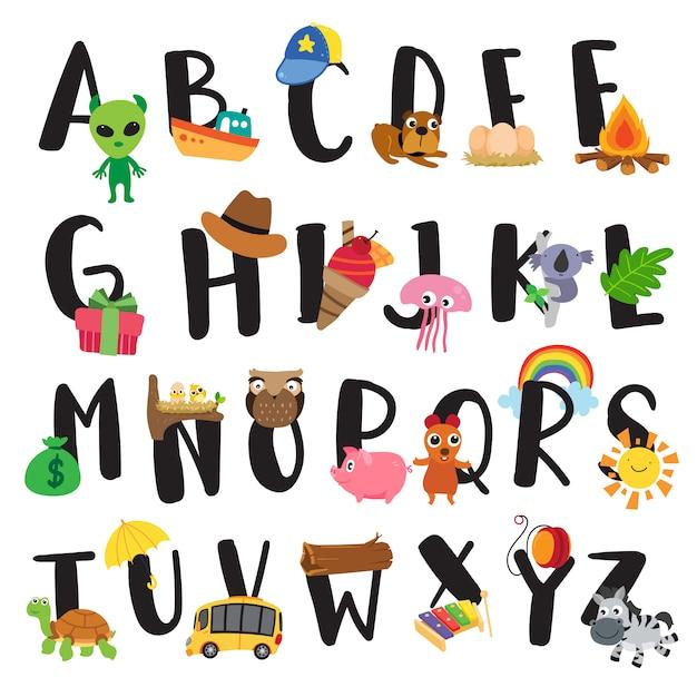 Alphabet-vektor-design für kind Premium Vektoren