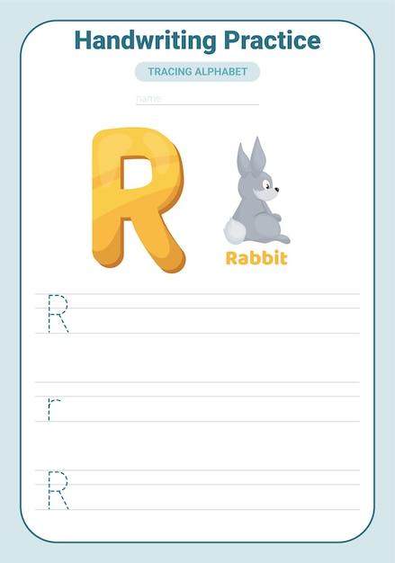 Alphabet-verfolgungspraxis buchstabe r. arbeitsblatt zur verfolgungspraxis. alphabet-aktivitätsseite lernen. Premium Vektoren