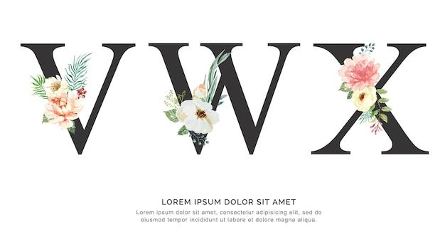 Alphabet vwx blume und blätter aquarell. Premium Vektoren