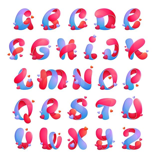 Alphabetbuchstaben mit herzen. schriftstil, designvorlagenelemente für ihre anwendung oder corporate identity. Premium Vektoren