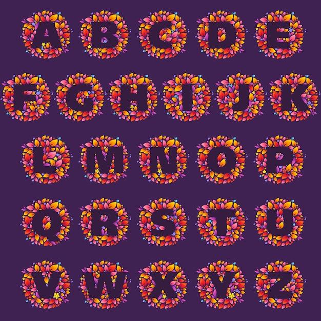 Alphabetbuchstabenlogos in einem flammenkreis. feuerschriftstil Premium Vektoren
