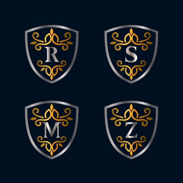 Alphabete und schild vintage-stil logo-kollektionen Premium Vektoren