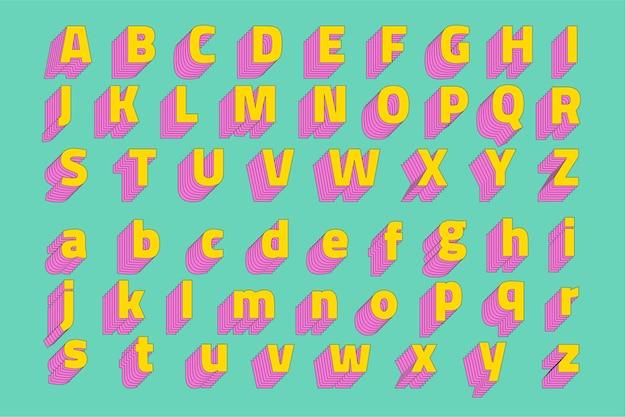 Alphabetisierte 3d stilisierte schrift des alphabets Kostenlosen Vektoren