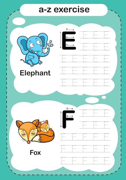 Alphabetübung mit cartoon-vokabular Premium Vektoren