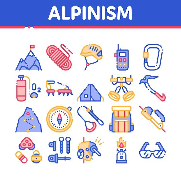 Alpinismus icons sammlung Premium Vektoren