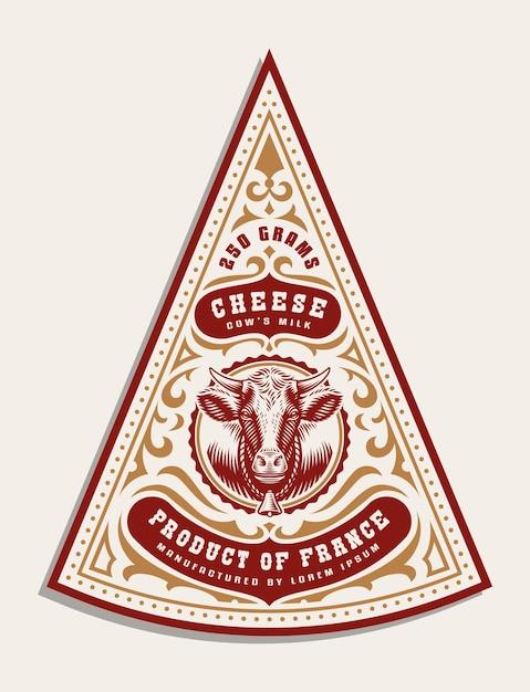 Als vintage-käseetikettenvorlage sind alle elemente in einer separaten gruppe und können bearbeitet werden Premium Vektoren