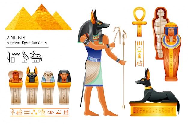 Altägyptischer gott anubis ikonensatz. hundekopfgottheit des todes, der mumifizierung, des jenseits. mumie, überdachungsglas, hundegrab. Premium Vektoren