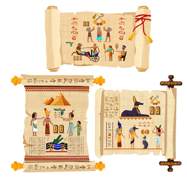 Alte ägypten-papyrusrollekarikatur mit hieroglyphen Kostenlosen Vektoren