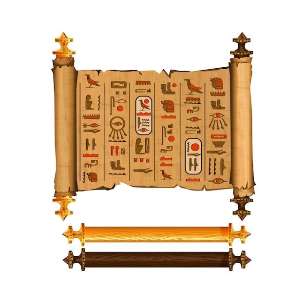 Alte ägypten-papyrusrollekarikatur-vektorsammlung mit hieroglyphen und ägyptischer kultur Kostenlosen Vektoren