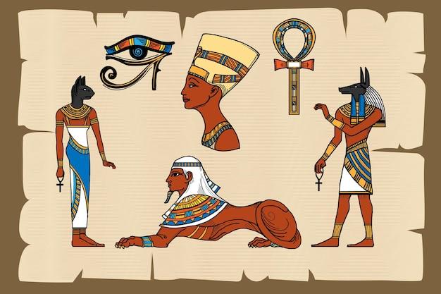 Alte ägypten symbole auf papyrus Kostenlosen Vektoren