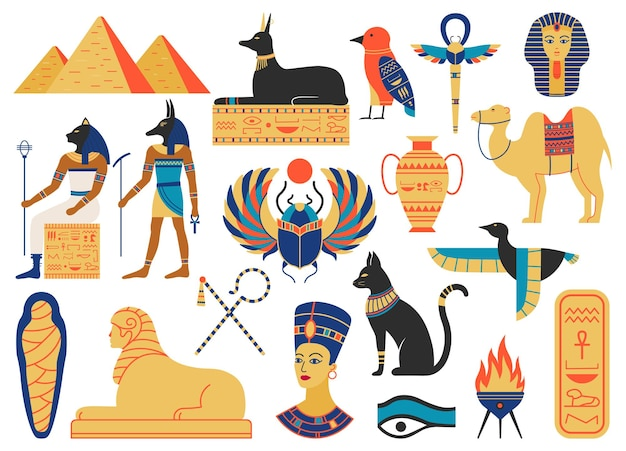 Alte ägyptische symbole. mythologische kreaturen, ägyptische götter, pyramiden und heilige tiere Premium Vektoren