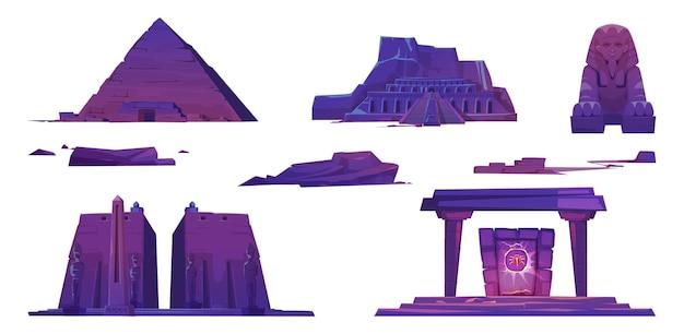 Alte ägyptische wahrzeichen, pyramiden, pharao-tempel, sphinx und mystisches portal mit skarabäuszeichen. Kostenlosen Vektoren