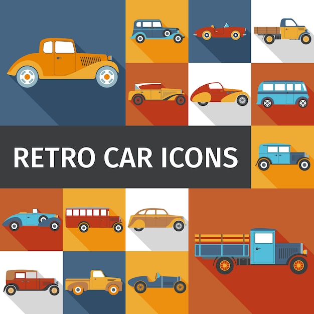 Alte autos eingestellt Kostenlosen Vektoren