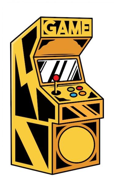 Alte klassische spielmaschine zum spielen des retro-videospiels für spieler und geek-kulturleute. Premium Vektoren