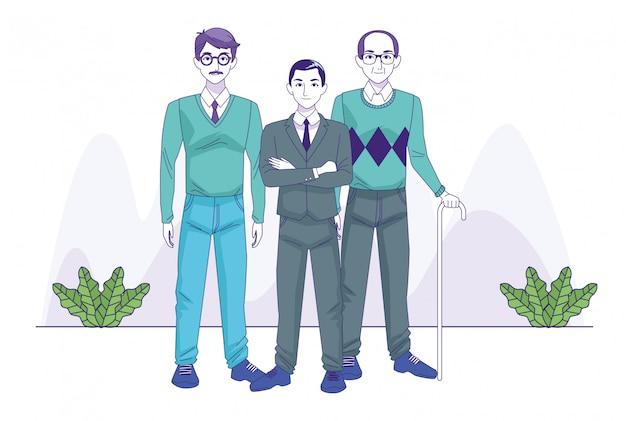Alte männer und geschäftsmann, die über zierpflanzen und weißem hintergrund, vektorillustration steht Premium Vektoren