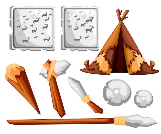 Alte mannhütte. prähistorisches haus aus lederhaut. steinzeitwerkzeuge und felsmalerei. stil. illustration auf weißem hintergrund Premium Vektoren
