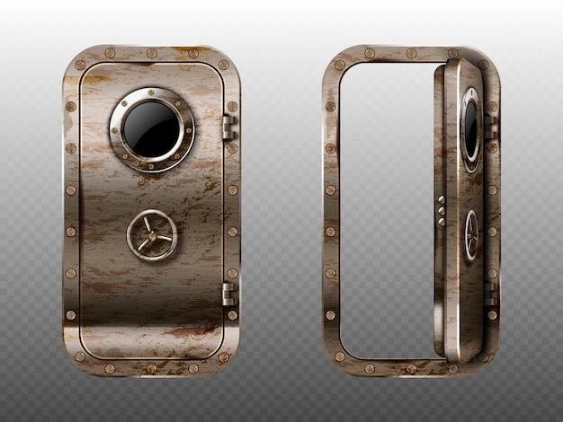 Alte metalltür mit bullauge, rostigem u-boot oder bunker schließen und offener eingang. kugelsichere tür des schiffs- oder geheimen laborstahls mit realistischem 3d-vektor des illuminators und des drehschloss-sperrrads Kostenlosen Vektoren