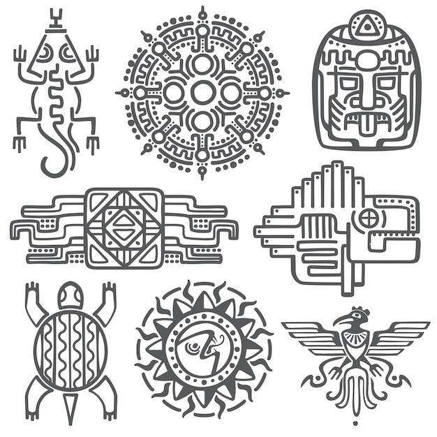 Alte mexikanische vektormythologiesymbole Premium Vektoren