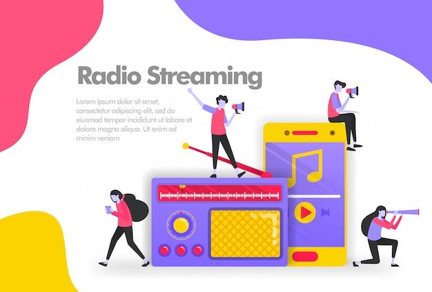 Alte radio- und smartphone-apps zum anhören von musikbanner Premium Vektoren