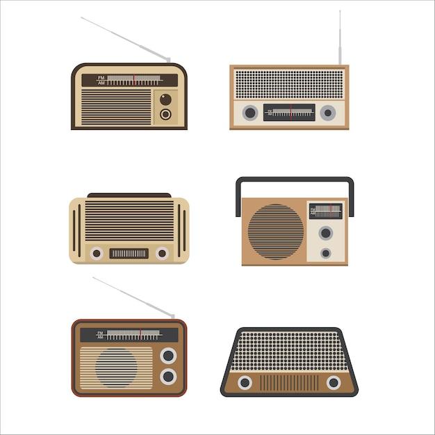 Alte radioillustration. vintage radio. retro-radio. das symbol für elektronik, sound und musik-player Premium Vektoren