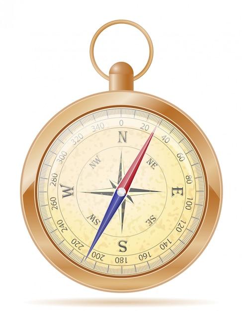 Alte retro- weinlesevektorillustration des kompasses Premium Vektoren