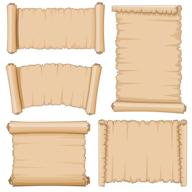 Alte rollen der leeren karikatur des papyruspapiervektorsatzes Premium Vektoren