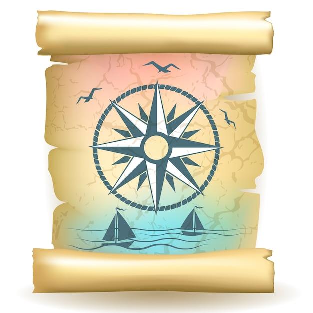 Alte schriftrolle mit vintage-kompassdesign und booten Kostenlosen Vektoren