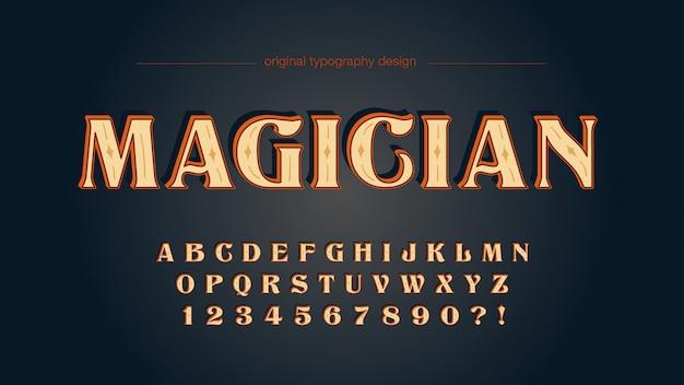 Alte schulweinlese-hölzerne typografie-gewohnheit Premium Vektoren