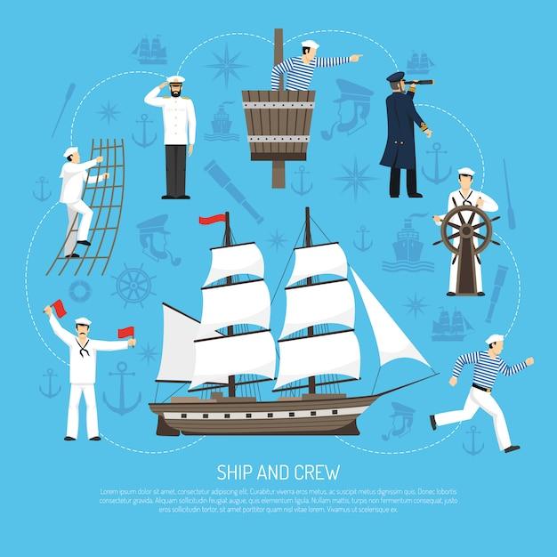 Alte segelboot-seemann-zusammensetzung retro Kostenlosen Vektoren
