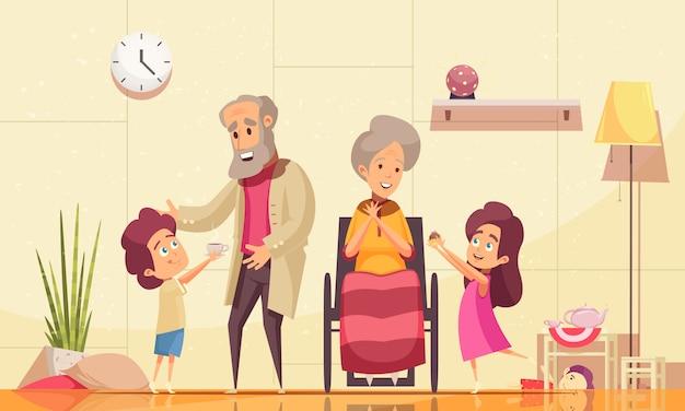 Alten menschen zu helfen, flache karikaturzusammensetzung mit den enkelkindern nach hause zu bringen, die den alten großeltern kaffeekuchen dienen Kostenlosen Vektoren