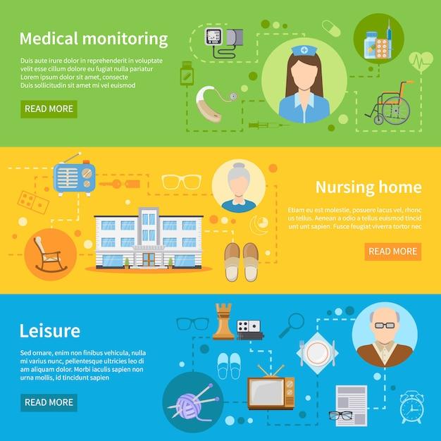 Altenpflege in pflegeheim banner Kostenlosen Vektoren
