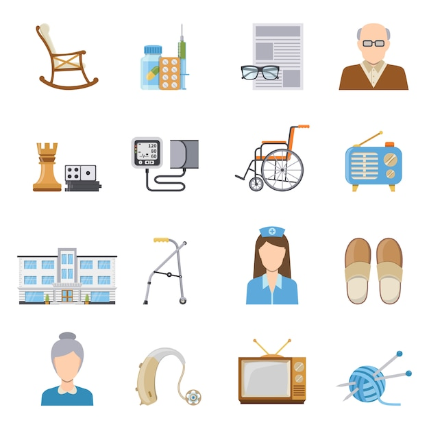 Altenpflege in pflegeheim-ikonen Kostenlosen Vektoren
