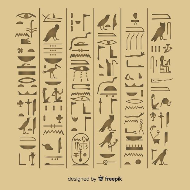 Alter ägypten-hieroglyphenhintergrund mit flachem design Kostenlosen Vektoren