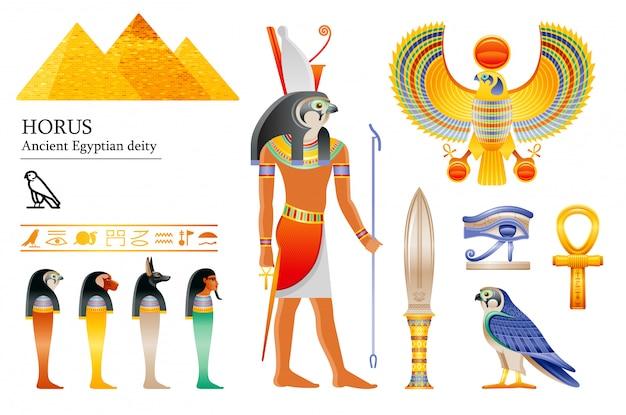 Alter ägyptischer gott horus ikonensatz. falkengottheit, pyramide, dolch, vogel, ankh, vier söhne des horus, überdachungsgläser, hieroglyphe. Premium Vektoren