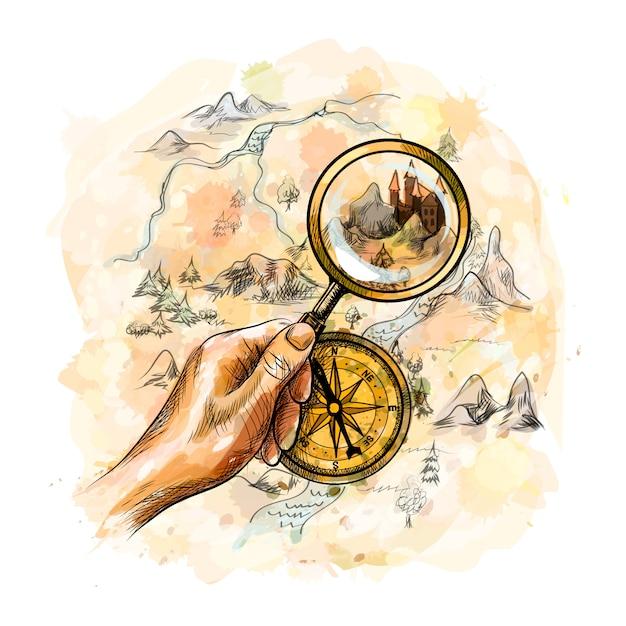 Alter antiker nautischer kompass und hand, die lupe mit schatzkarte von einem spritzer aquarell, hand gezeichnete skizze halten. illustration von farben Premium Vektoren