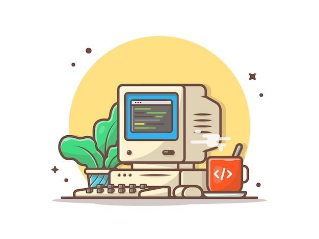 Alter computer-desktop mit heißer kaffee-und betriebsvektor-ikonen-illustration Premium Vektoren