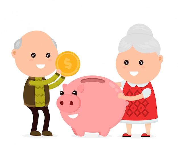 Alter glücklicher netter großvatermann und großmutter wirft eine münze in ein sparschwein. Premium Vektoren