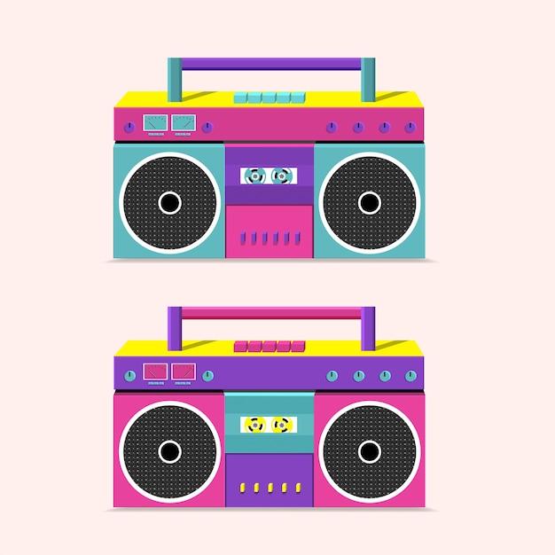 Alter kassettenrekorder zum übertragen von musik mit zwei lautsprechern. Premium Vektoren