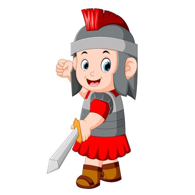 Alter krieger oder gladiator, der vorbei aufwirft Premium Vektoren